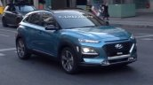 Hyundai Kona SUV blue spied front three quarter during TVC shoot in Spain