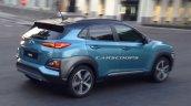 Hyundai Kona SUV blue spied rear three quarter during TVC shoot in Spain