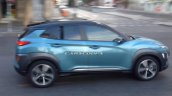 Hyundai Kona SUV blue spied side during TVC shoot in Spain