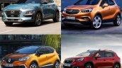 Hyundai Kona vs. Renault Captur vs. Peugeot 3008 vs. Vauxhall Mokka X (Opel Moka X) front three quarters