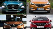 Hyundai Kona vs. Renault Captur vs. Peugeot 3008 vs. Vauxhall Mokka X (Opel Moka X) front