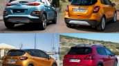 Hyundai Kona vs. Renault Captur vs. Peugeot 3008 vs. Vauxhall Mokka X (Opel Moka X) rear three quarters right side