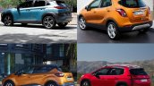 Hyundai Kona vs. Renault Captur vs. Peugeot 3008 vs. Vauxhall Mokka X (Opel Moka X) rear three quarters