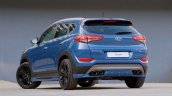 Hyundai Tucson Sport blue rear three quarters