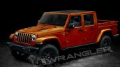 Jeep Wrangler Pickup crew cab front three quarters left side rendering