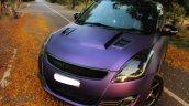Maruti Swift matte purple wrap and sporty body kit front quarter
