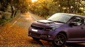 Maruti Swift matte purple wrap and sporty body kit front three quarter