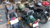 Royal Enfield Classic Battle Green spy shot Bangalore rear three quarter