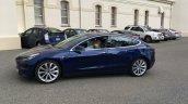 Tesla Model 3 blue left side spy shot