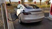 Tesla Model 3 charging second spy shot