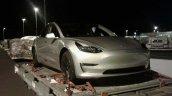 Tesla Model 3 front three quarters New Zealand spy shot
