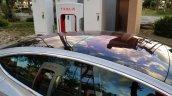 Tesla Model 3 glass roof spy shot