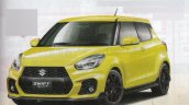2017 Suzuki Swift Sport yellow front three quarters rendering