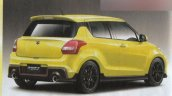 2017 Suzuki Swift Sport yellow rear three quarters rendering