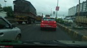 Dual tone red and black VW Polo rear spotted on test in Pune