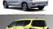 Mitsubishi Expander vs. Toyota Sienta rear three quarters