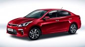 Russian-spec 2017 Kia Rio sedan front three quarters studio image