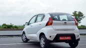 Datsun redi-GO 1.0 Review white rear three quarters