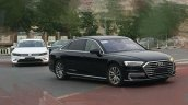 2018 Audi A8 L front three quarters spy shot