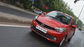 Tata Tiago AMT test drive review front action shot