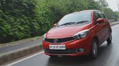 Tata Tiago AMT test drive review front three quarters action shot