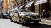 Camouflaged BMW X2 front quarter snapped Milano Fashion Show