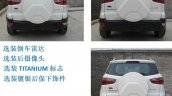 Ford EcoSport facelift China rear view variant comparison