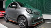 Smart Fortwo Brabus edition asphaltgold front three quarter showcased at the IAA 2017