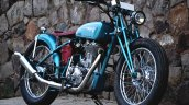 Vintage Royal Enfield Classic 500 Puranam Designs front right quarter