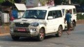 2018 Mahindra Scorpio facelift spy picture front three quarters