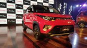 Mahindra KUV100 NXT Red & Black front three quarters