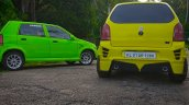 Modified Maruti Alto green and yellow rear