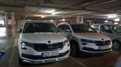 Skoda Karoq spotted in India next to Kodiaq Scout