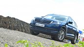 Skoda Kodiaq test drive review front three quarters low
