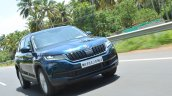 Skoda Kodiaq test drive review front three quarters motion shot 2