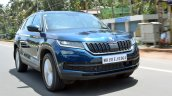 Skoda Kodiaq test drive review front three quarters motion shot