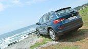 Skoda Kodiaq test drive review rear three quarters angle