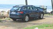 Skoda Kodiaq test drive review right rear three quarters
