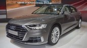 2018 Audi A8 L front three quarters at 2017 Dubai Motor Show