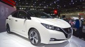 2018 Nissan Leaf front three quarters at the 2017 Dubai Motor Show