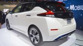 2018 Nissan Leaf rear three quarters at the 2017 Dubai Motor Show