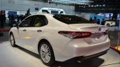 2018 Toyota Camry Hybrid rear three quarters at 2017 Dubai Motor Show