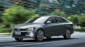 2018 VW Virtus (Polo based sedan) front angle action shot