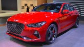 Genesis G70 with Sport Package front three quarters at 2017 Dubai Motor Show