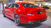 Genesis G70 with Sport Package rear three quarters left side at 2017 Dubai Motor Show