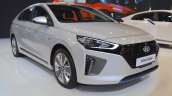 Hyundai Ioniq hybrid front three quarters at 2017 Dubai Motor Show
