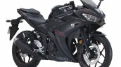 2018 Yamaha YZF-R25 Black press front right quarter