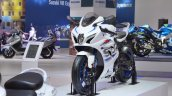 2018 Suzuki GSX-R1000R White front left quarter at 2018 Auto Expo
