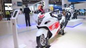 2018 Suzuki Hayabusa White front left quarter at 2018 Auto Expo