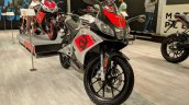 Aprilia RS 150 front right quarter at 2018 Auto Expo